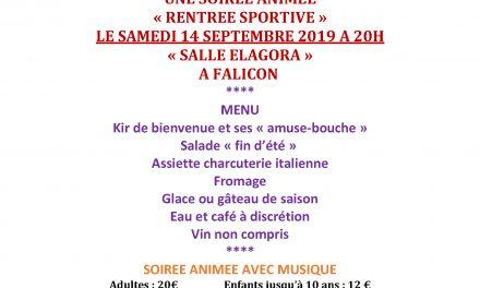 """Repas et soirée animée """"Rentrée sportive"""""""